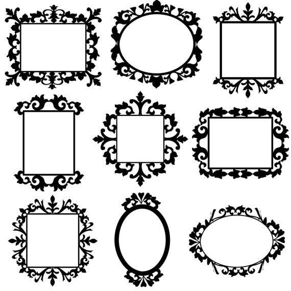 9 Decorative Frame Clip Art Set Digital Clipart Images For