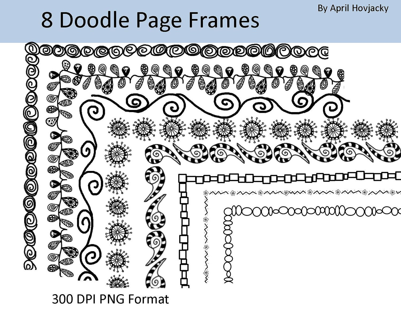 8 Doodle Frames 12x12 and 8.5x11 Clip Art Set