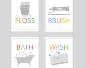 Bathroom Decor - Bath, Wash, Brush, Floss - set of four - 5x7 prints