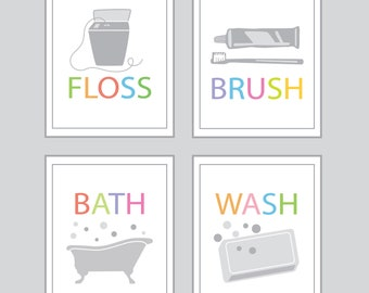 Bathroom Wall Decor - Bath, Wash, Brush, Floss - set of TWO - 5x7 prints