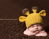 Crochet Newborn Giraffe  Beanie Hat - Photography Prop  - Yellow Animal Hat Photo Prop