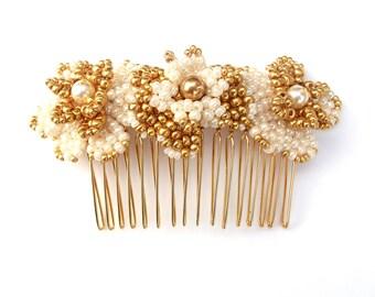 Bridal Hair Comb Beaded Flowers Vintage Inpsired Wedding Hair Accessory Swarovski Pearl