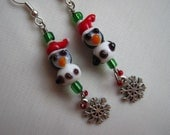 Christmas Penguin and Snowflake Earrings - Silver
