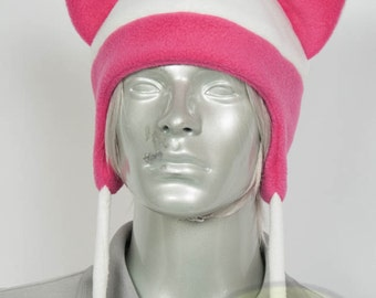 Hot Pink and White Cat Aviator Hat, Handmade