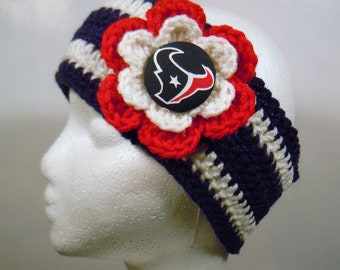 Crocheted Earwarmer in Navy and White made with Houston Texans fabric button