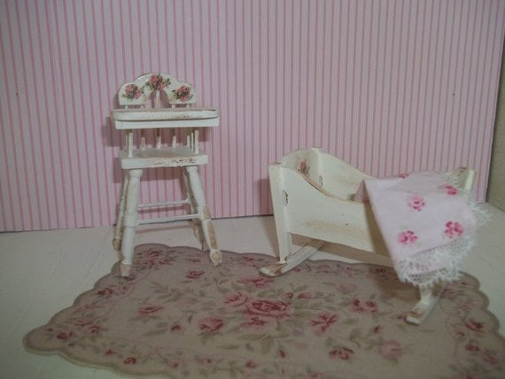 Dollhouse miniature baby cradle and high chair