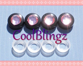 BABY PINK Rhinestone on BLACK Screw Caps Covers for Crystal Bling License Plate Frame