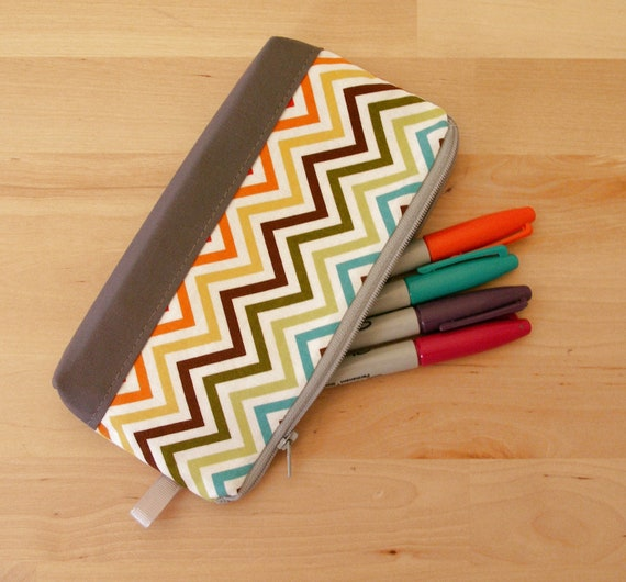 Pencil Case, Zipper Pouch, Small Cosmetic Bag in Rainbow Chevron - Back to School