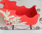 Red Christmas Sled Decoration, Wood Sled, Hand Painted Sled, Holiday Display