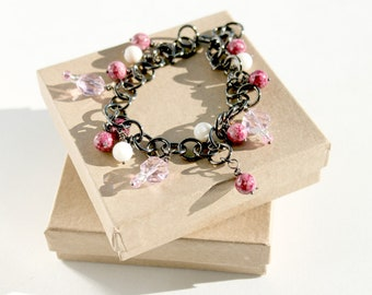 Adjustable Anklet, Gunmetal Chain, Pink Beaded, Charm Anklet, Anklet to Bracelet