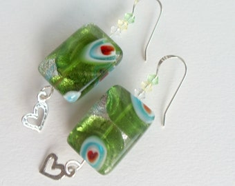 Green Lampwork Beaded Dangle Earrings Sterling Silver Square Beads Dangle Hearts