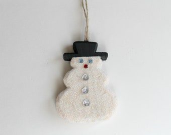 Snowman Christmas Ornament, Hand-Painted Snowman, Glitter Snowman Ornament, Holiday Display
