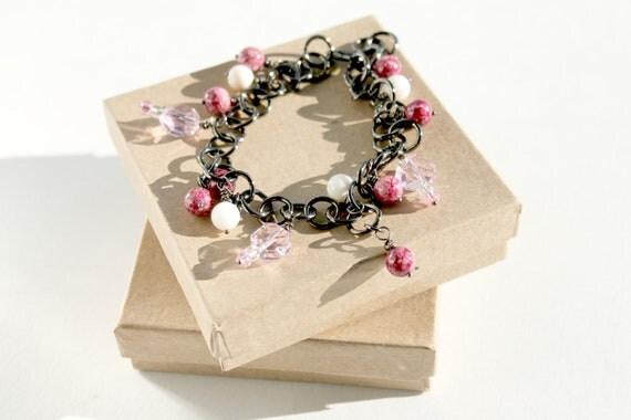 Adjustable Anklet, Gunmetal Chain, Pink Beaded, Charm Anklet, Anklet to Bracelet