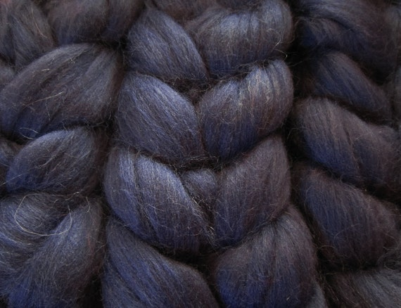"4 Oz ""Midnight Magic"" Wool Roving Braid Fiber for Spinning, blending, & more"