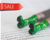 Irish boots with green clover .Legs in the book. Unusual art bookmark. st Patricks day gift idea