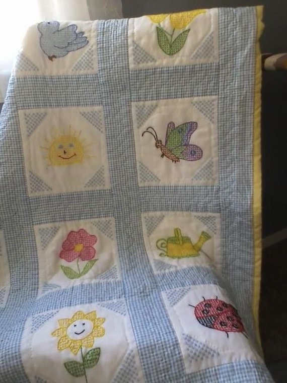 Items similar to cross stitch baby quilt on etsy