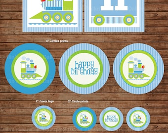 Choo Choo Train Birthday Party DIY Printable Party pack - match with Thomas the train - Green and blue