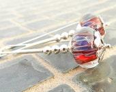 Red earrings, blue red lampwork earrings, geometric sterling silver dangle earrings, red earings jetteam