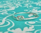 Love knot silver ring,infinity knot,first knuckle ring,sterling silver above knuckle,tie the knot bridesmaid jewelry,mid finger ring 16g