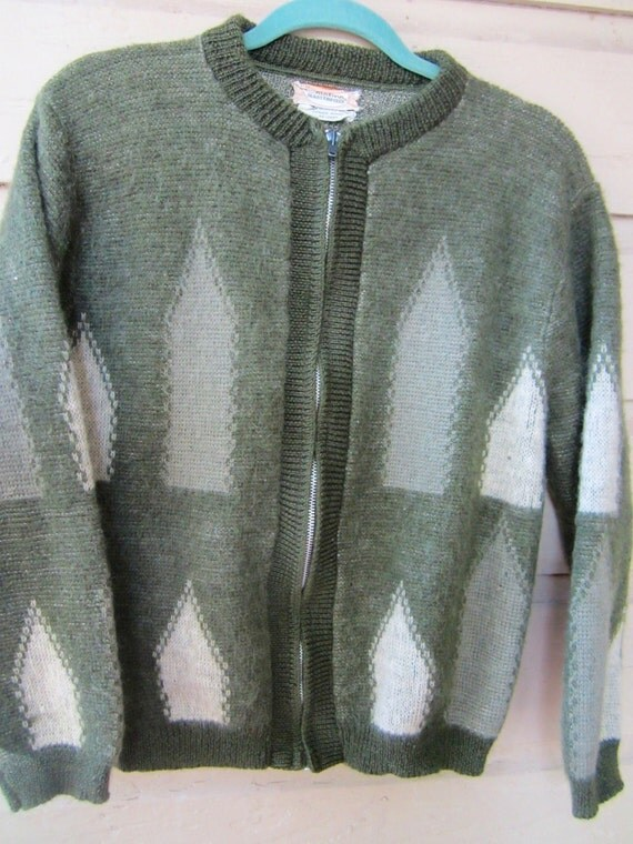 Vintage 1950's -60's mohair,wool sweater Catalina Masterpiece Mr Rogers style.