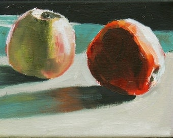 Apples Still Life Painting Oil on canvas  6x8 inch wall art