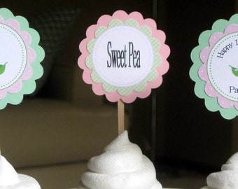Sweet Pea Baby Shower Cupcake Toppers--pink and green