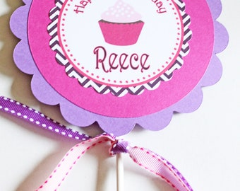 Cupcake theme Centerpiece / Cake Topper - Pinks and Purples