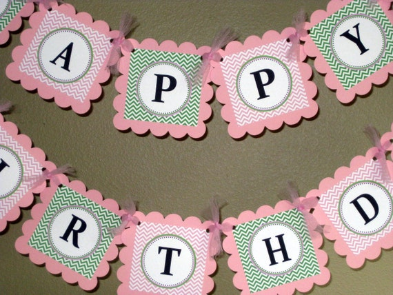 Happy 30th Birthday banner - Pink and Green