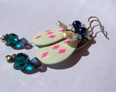 Sterling silver glow-in-the-dark two-tiered earrings with fishing lure - white blue purple pearls  glass - chandelier earrings