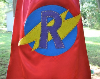 Superhero Cape PERSONALIZED RED Boys Superhero Costume - Choose the Initial - Superhero Birthday Party