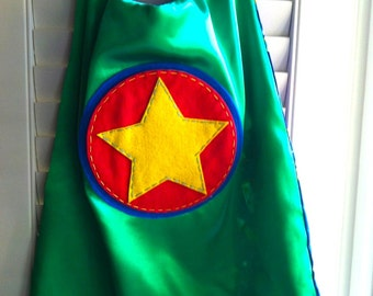 Superhero Cape-PERSONALIZED GREEN Star Boys Superhero Cape - Choose the Initial - Superhero Birthday Party