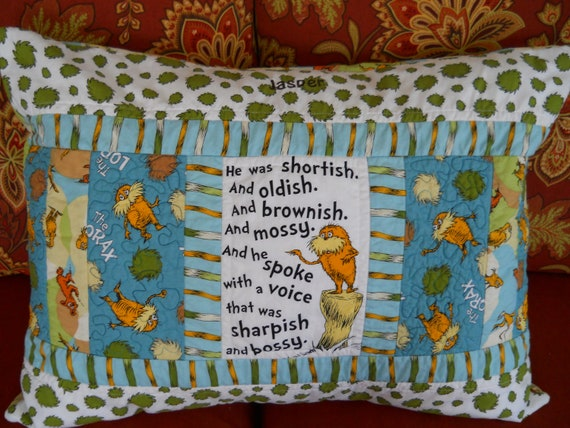 Lorax pillow sham - organic cotton