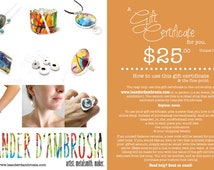 Gift Certificate HARD COPY OPTION - Shipped - Gift Card to use exclusively in this shop only - Gift for Men, Women, Kids