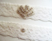 Wedding Garter Set White Delicate Lace Rhinestones White Garter Petite Art Deco Style Rhinestone Fan Center with Toss Garter