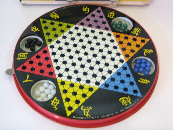 Vintage 1950s Metal Tin Chinese Checkers Game - Complete in Original Box with Glass Marbles - Woodhaven Metal Stamping Co. Brooklyn N.Y.