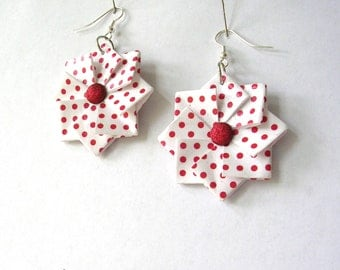 Origami Earrings - Red Polka Dot Earrings - Boho Jewelry - Origami Jewelry - Paper Anniversary - Boho Earrings