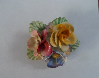 Vintage Porcelain Flower Brooch Made in England Green Yellow Blue Pink
