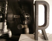 Vintage Industrial Architectural Salvage Metal Letter R from 1960s Building Sign