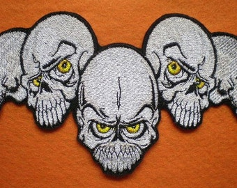 "Extra Large Embroidered Five Skull ""Day of the Dead"" Applique Patch, Bikers, Gothic, Iron On Patch Tattoo Style"