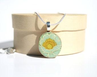 Mint Floral Pendant necklace best friend gift circle pendant eco friendly