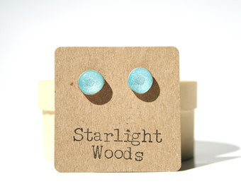 Aquamarine blue studs post earrings wood earrings minimalist jewelry eco fashion eco friendly unique gift for her