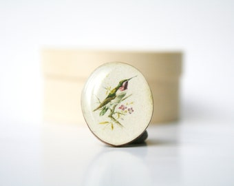 Vintage Bird Statement Ring. Wood Ring. Wooden Ring. Bird Ring. Adjustable Ring.