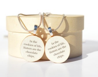 Sisters necklace set wood Customized gift sister gift eco friendly gift, friendship gift, best friends