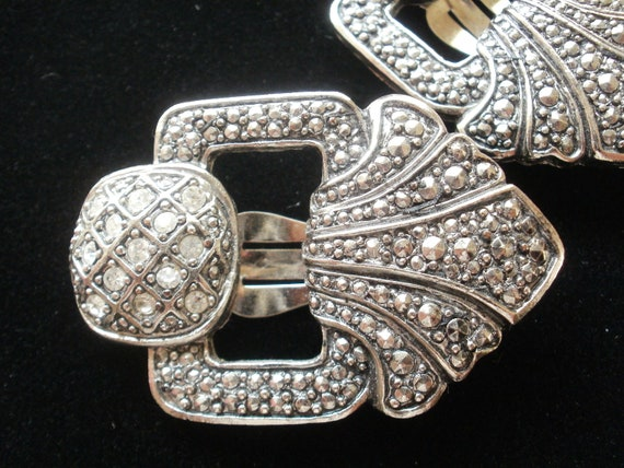 Vintage Art Deco Rhinestone Clip Earrings