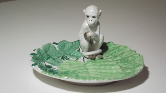 Vintage Italian Ceramic Plate With Beautifully Detailed Snow Monkey