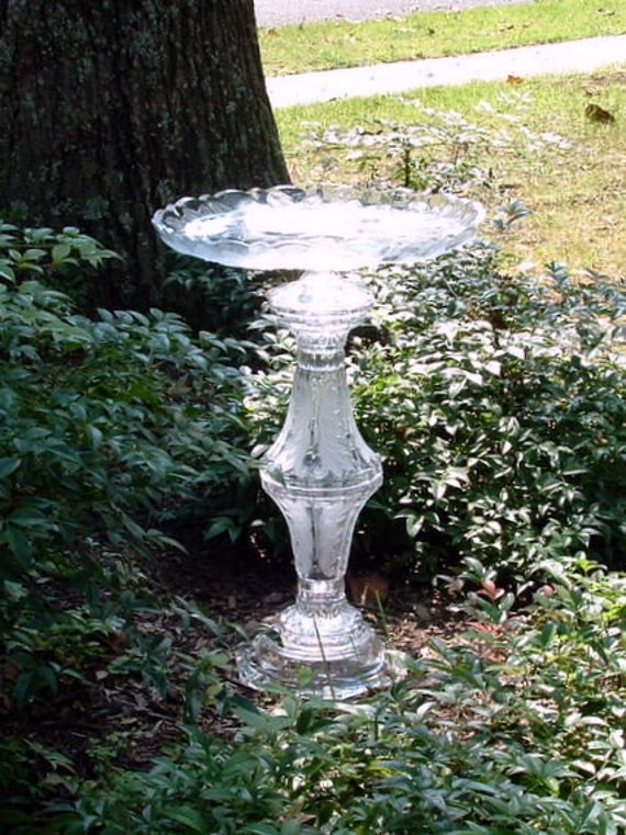 "Garden art, bird bath, bird feeder.  ""The Emma"" is made with repurposed glass.  Recycled.  Upcycled art."