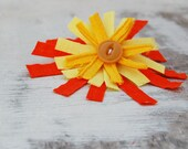 autumn fabric brooch, fall fashion jewelry, yellow orange fabric pin, bar pin, anthropologie, ecofriendly, upcycled wedding decor