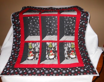 Snowman Wall Hanging, 3D, Small Quilt, Table Topper.