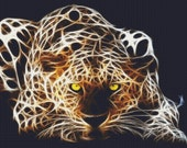 Pounce Leopard Fractal Cross Stitch Pattern Beautiful Large Instant Download PdF (REVISED) Color And Black / White Symbol Charts Included