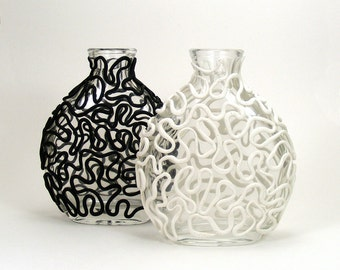 Black & White Clay Lace Set of 2 Glass Vases - Entwine  /  Victorian, Bridal, Bud Vase, Home Decor, Table Decor, Swirl